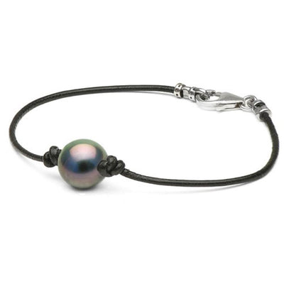 Black Tahitian Pearl on Leather Bracelet, 11.0-12.0mm, AAA Quality, Sterling Silver