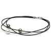 Multi-Color Tahitian and South Sea Pearl Braided Leather Choker, 9-10m and 10-11m, Sterling Silver