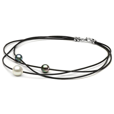 Multi-Color Tahitian and South Sea Pearl Braided Leather, 9-10m and 10-11m, 14K Gold