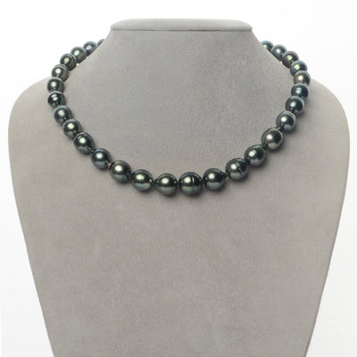 Dark Green Baroque Tahitian Pearl Necklace, 18-Inch, 9.2-10.6mm, AA+/AAA Quality