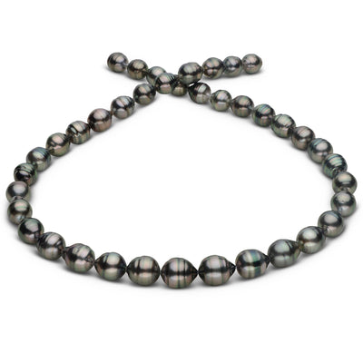 Steel, Green and Peacock Circled Baroque Tahitian Pearl Necklace, 18-Inch, 8.2-10.4mm, AA+ Quality