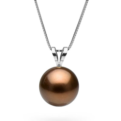 Chocolate Tahitian Pearl Classic Solitaire Pendant, Sizes: 10.0-12.0mm