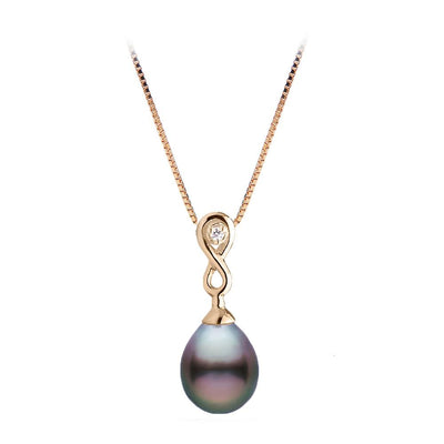 Tahitian Drop-Shape Pearl and Diamond Infinity Pendant