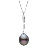 Black Tahitian Baroque Pearl Icicle Pendant, 11.0-12.0mm, Sterling Silver or 14K White Gold