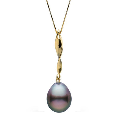 Black Tahitian Baroque Pearl Icicle Pendant, 11.0-12.0mm, 14K Yellow Gold
