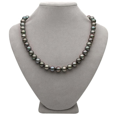 Subtle Peacock and Steel Round Tahitian Pearl Necklace, 18-Inch, 8.9-10.9mm