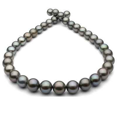 Dark Steel and Subtle Peacock Round Tahitian Pearl Necklace, 18-Inch, 9.9-12.3mm