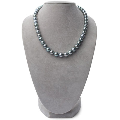 Dark Silver and Green Round Tahitian Pearl Necklace, 18-Inch, 8.4-10.9mm, AA+ Quality, on Necklace Bust