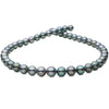 Dark Silver and Green Round Tahitian Pearl Necklace, 18-Inch, 8.4-10.9mm, AA+ Quality