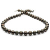 Dark Cherry and Peacock True Round Tahitian Pearl Necklace, 18-Inch, 8.3-10.7mm,  AA+/AAA Quality