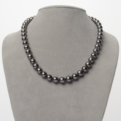 Cherry and Peacock Round Tahitian Pearl Necklace, 18-Inch, 8.0-9.7mm,  AA+/AAA Quality