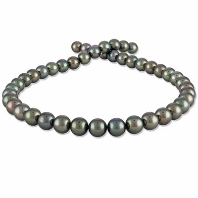 Classic Peacock and Green True Round Tahitian Pearl Necklace, 17-Inches, 8.0-9.9mm, AA+ Quality