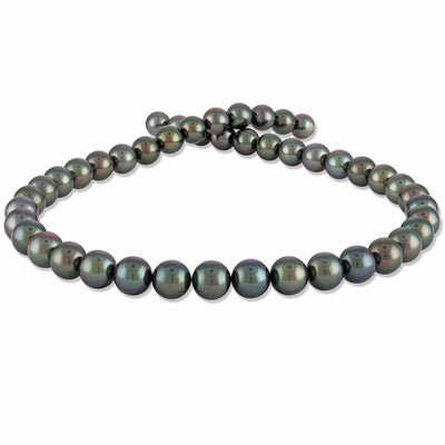 Blue-Green and Peacock True Round Tahitian Pearl Necklace, 17-Inches, 8.0-9.9mm,  AA+/AAA Quality