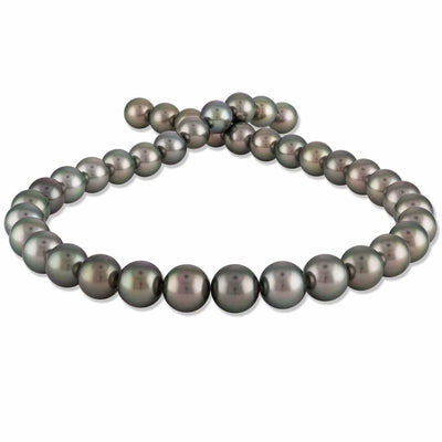 Silvery-Steel and Peacock-Green True Round Tahitian Pearl Necklace, 17.5-Inches, 10.0-12.0mm, AA+ Quality