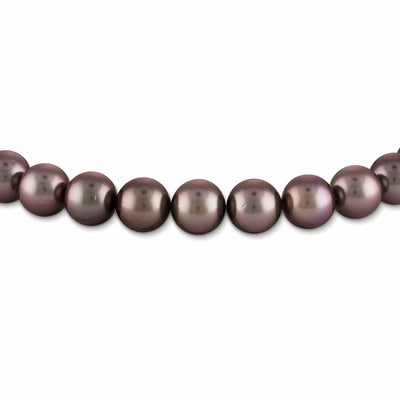 Dark Silver and Subtle Cherry True Round Tahitian Pearl Necklace, 18-Inches, 10.0-11.9mm, AAA Quality