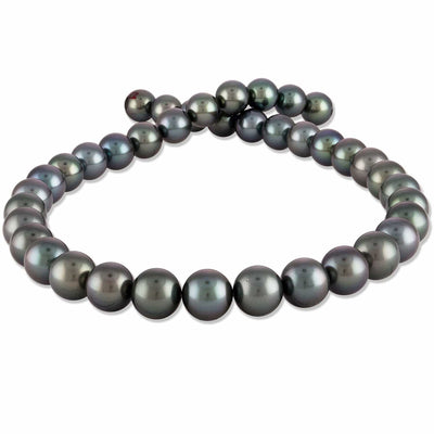 Blue-Green and Peacock Round Tahitian Pearl Necklace, 18-Inches, 10.1-11.9mm,  AA+/AAA Quality