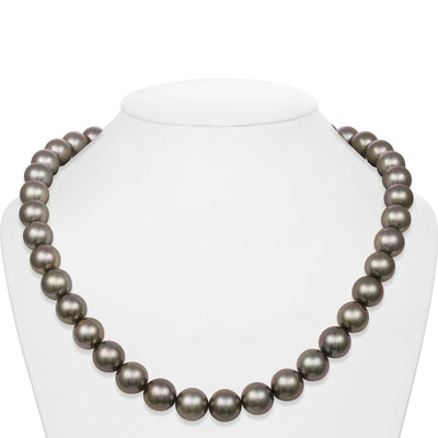 Medium Silver True Round Tahitian Pearl Necklace, 18-Inches, 10.3-12.0mm, AAA/Gem Quality