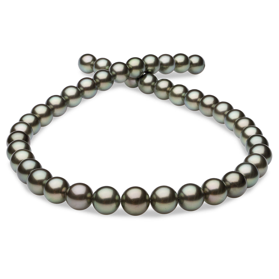 """Nouveau 9-10 mm Genuine Black Tahitian Pearl Necklace 18/""""AAA"""