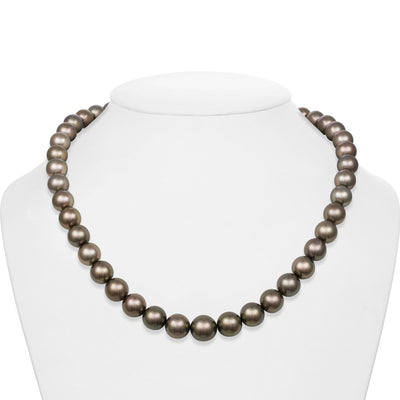 Dark Silver and Subtle Peacock Round Tahitian Pearl Necklace, 18-Inch, 9.0-11.3mm, AA+/AAA Quality