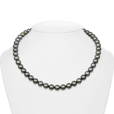 Blue-Green and Silver Round Tahitian Pearl Necklace, 18-Inch, 8.0-9.0mm,  AAA Quality