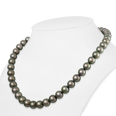 Dark Green and Peacock True Round Tahitian Pearl Necklace, 18-Inches, 9.0-9.9mm, AAA Quality