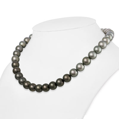 Ombré Light to Dark Silver True Round Tahitian Pearl Necklace, 18-Inch, 10.0-10.2mm, AAA Quality