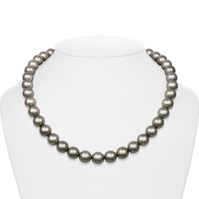 Light Silver True Round Tahitian Pearl Necklace, 18-Inches, 10.0-10.9mm, AAA/Gem Quality