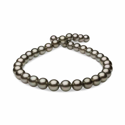 Silvery-Peacock True Round Tahitian Pearl Necklace, 18-Inches, 10.0-12.5mm, AAA Quality