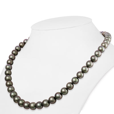 Blue-Green and Peacock True Round Tahitian Pearl Necklace, 18-Inches, 8.1-9.9mm,  AAA/Gem Quality
