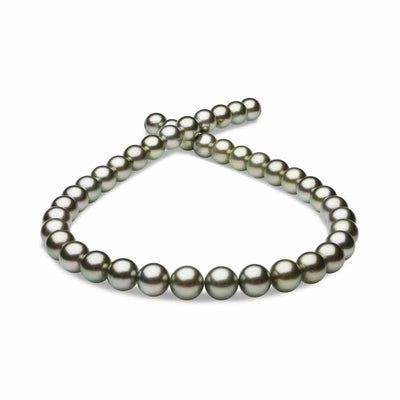 Silvery-Peacock True Round Tahitian Pearl Necklace, 18-Inches, 10.0-11.4mm, AAA Quality