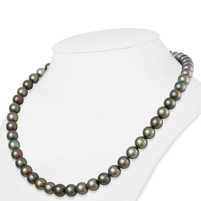 Multi-Color Peacock, Cherry, Green and Blue Tahitian Round Pearl Necklace, 18-Inch, 8.0-9.2mm, AAA Quality