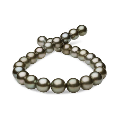 Dark Silver and Rose True Round Tahitian Pearl Necklace, 18-Inches, 15.0-16.85mm, AA+/AAA Quality