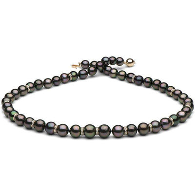 Round Tahitian Pearl and Diamond Rondelle Necklace