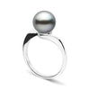 Black Tahitian Pearl Serenity Solitaire Ring, Sizes: 10.0-11.0mm, 14K White Gold