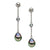 Black Tahitian and Blue Topaz Tin Cup Earrings, 10.0-11.0mm, Sterling Silver