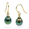 Black Tahitian Drop-Shaped Pearl Shepherd Hook Dangle Earrings, Sizes: 9.0-13.0mm