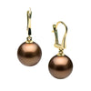 Chocolate Tahitian Pearl Dangle Earrings, Sizes: 11.0mm-12.0mm, 14K Yellow Gold