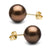Chocolate Tahitian Pearl Stud Earrings, 10.0-11.0mm