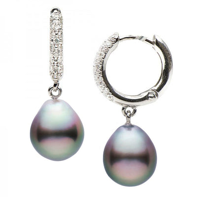 Large Black Tahitian Drop-Shape Pearl and Diamond Hoop Earrings, Sizes: 10.0-12.0mm, 14K White Gold