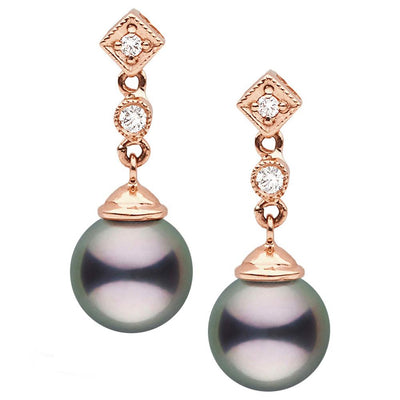 Black Tahitian Round Pearl and Diamond Royale Dangle Earrings