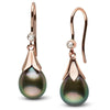 Tahitian Drop-Shape Pearl and Diamond Lily Dangle Earrings, 14K Rose Gold