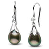 Tahitian Drop-Shape Pearl and Diamond Lily Dangle Earrings, 14K White Gold