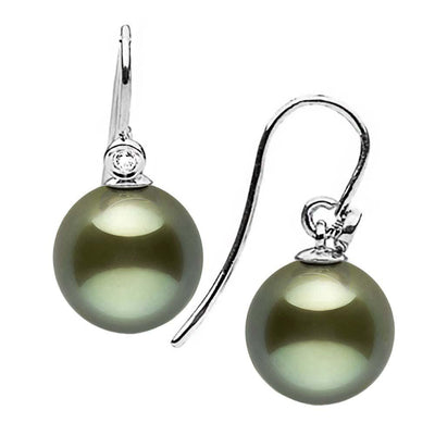 Black Tahitian Pearl and Diamond Shepherd Dangle Earrings, Sizes: 8.0-11.0mm, 14K White Gold