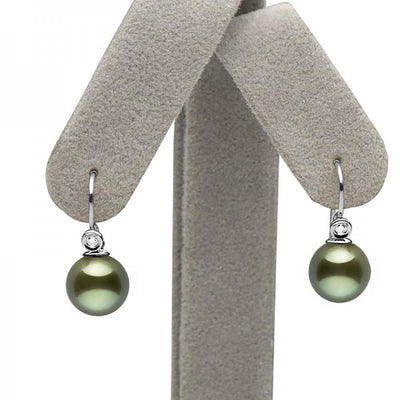Black Tahitian Pearl and Diamond Shepherd Dangle Earrings, 14K White Gold on Earring Tree