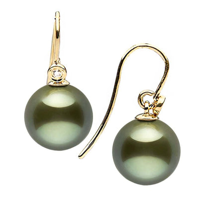 Black Tahitian Pearl and Diamond Shepherd Dangle Earrings, Sizes: 8.0-11.0mm, 14K Yellow Gold