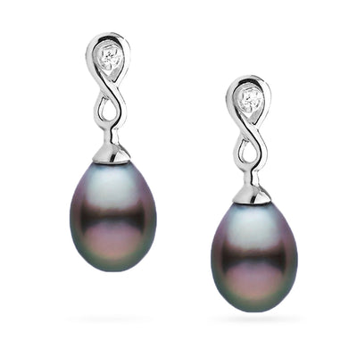 Tahitian Drop-Shape Pearl and Diamond Infinity Dangle Earrings