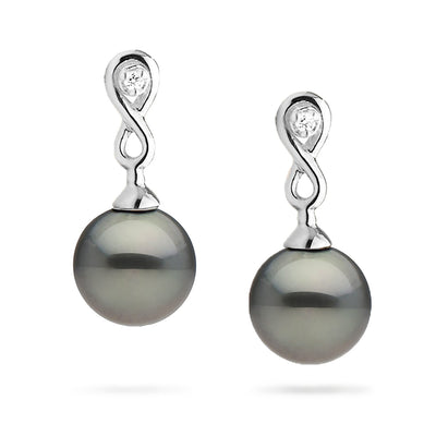 Tahitian Pearl and Diamond Infinity Dangle Earrings
