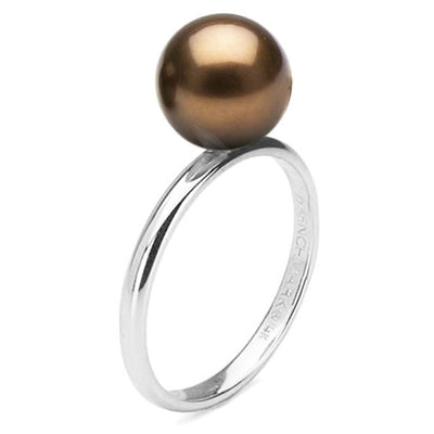 Chocolate Tahitian Pearl Solitaire Ring, Sizes: 10.0-12.0mm, 14K White Gold