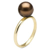 Chocolate Tahitian Pearl Solitaire Ring, Sizes: 10.0-12.0mm, 14K Yellow Gold