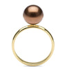 Chocolate Tahitian Pearl Solitaire Ring, Sizes: 10.0-12.0mm, 14K Yellow Gold (Side View)
